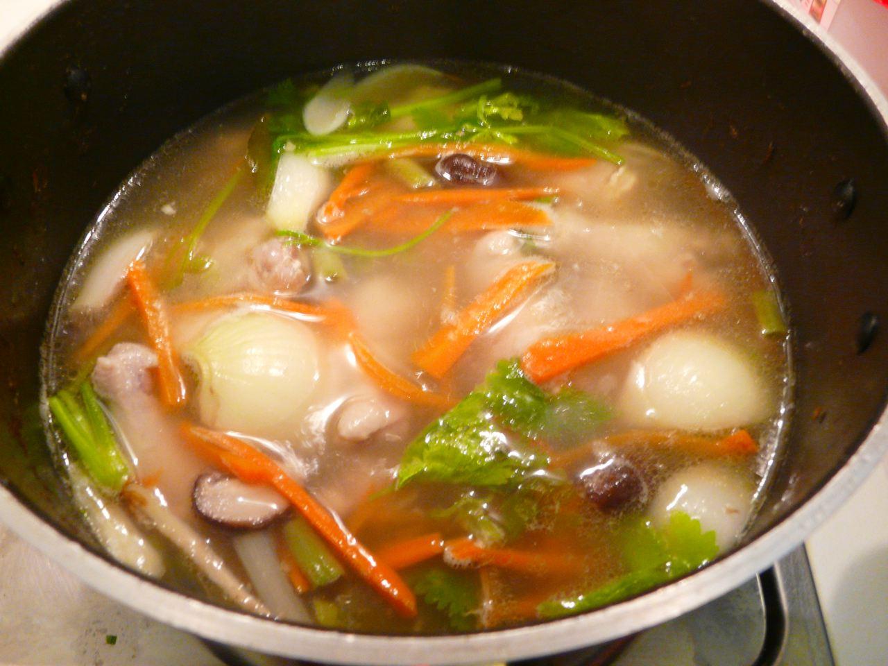 Thaihühnerbrühe mit Hähnchenklein und Thai Suppengemüse 45 Minuten  kochen