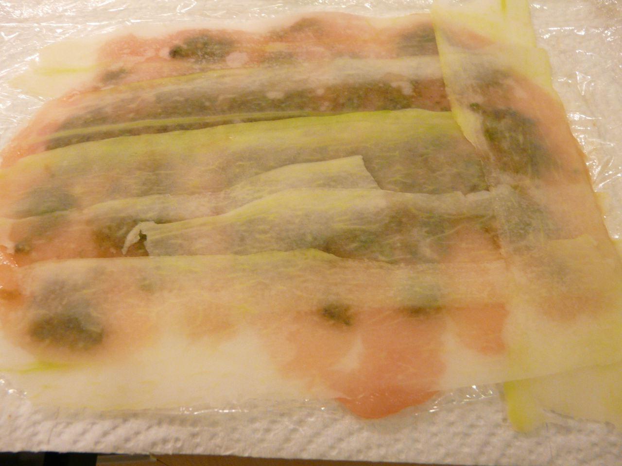 dann die blanchierten Papayascheiben auflegen