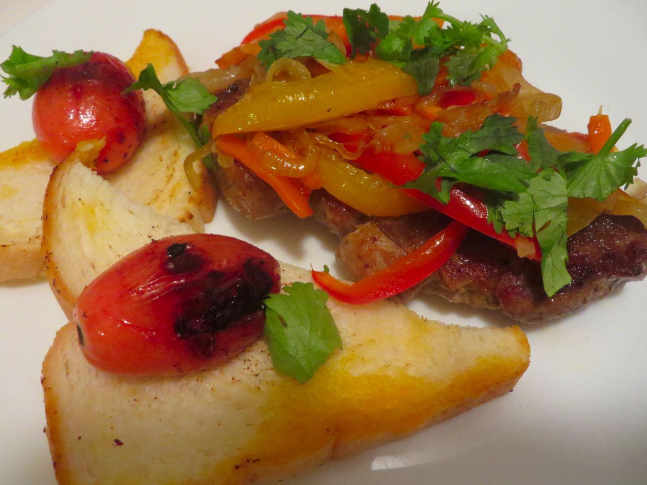 Schweinefleisch Vegetables Rezept mit Toast