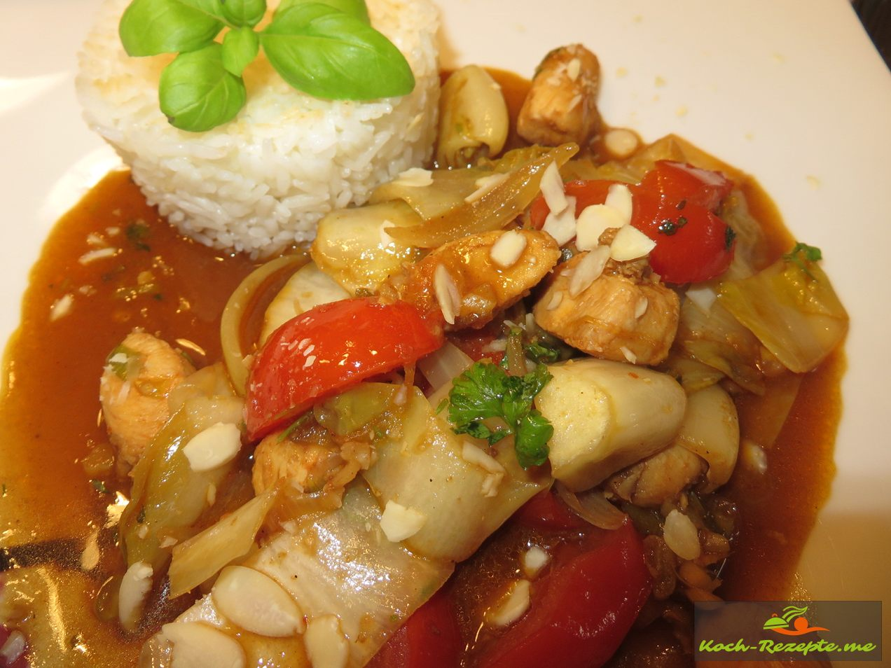 Guten Appetiti, angerichtet  Chicorée Wok Rezept mit Jasminreis